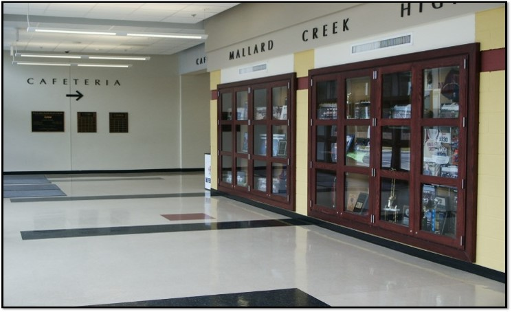 Mallard Creek High School Hallway Trophy Case